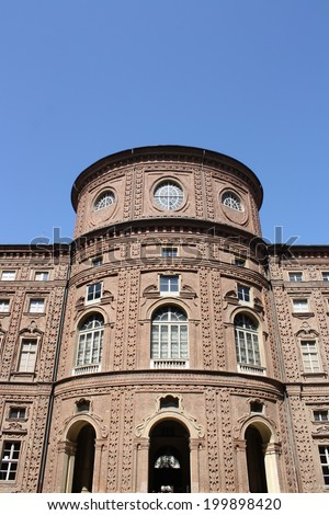View of Carignano Palace in Turin ( Italy )