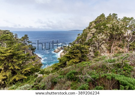 View of Carmel Bay, on a crisp spring morning, Cypress trees, blue sea & sky, & unusual rock and geological formations, as seen from the Whaler's Knoll Trail, at Point Lobos State Natural Reserve.