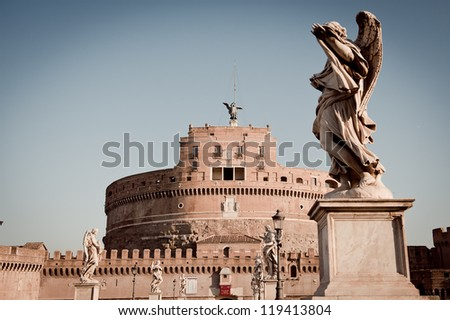 View of Castel Sant'Angelo Rome, Italy - stock photo
