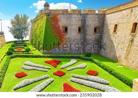 View of Castillo de Montjuic  on mountain Montjuic in  Barcelona, Spain - stock photo