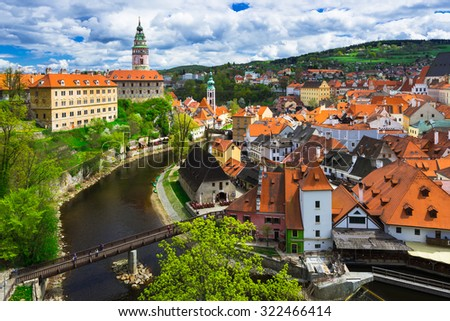 View of castle and houses in Cesky Krumlov, Czech republic - stock photo