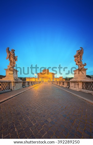 View of Castle of the Holy Angel, Castel Sant'angelo and Bridge of the Holy Angel, Ponte Sant Angelo Rome, Italy. - stock photo