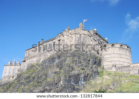 View of Castle Rock in Edinburgh, Scotland - stock photo