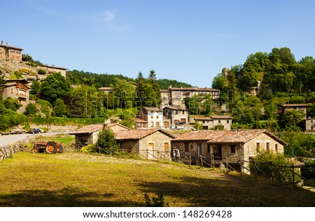 view of catalan village. Rupit. Catalonia