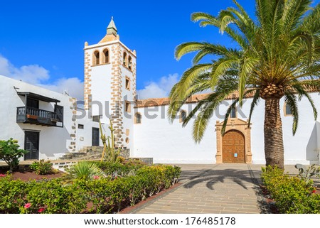 View of cathedral church of Saint Mary of Betancuria in Fuerteventura, Canary Islands, Spain  - stock photo