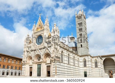 View of cathedral Duomo and campanile. Siena, Tuscany, Italy