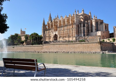 View of Cathedral Le Seu, Palma de Mallorca, Spain - stock photo