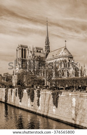 View of Cathedral Notre Dame de Paris - a most famous Gothic, Roman Catholic cathedral (1163 - 1345) on the eastern half of the Cite Island. Paris, France. Vintage, sepia.   - stock photo