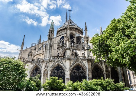 View of Cathedral Notre Dame de Paris - a most famous Gothic, Roman Catholic cathedral (1163 - 1345) on the eastern half of the Cite Island. France. - stock photo