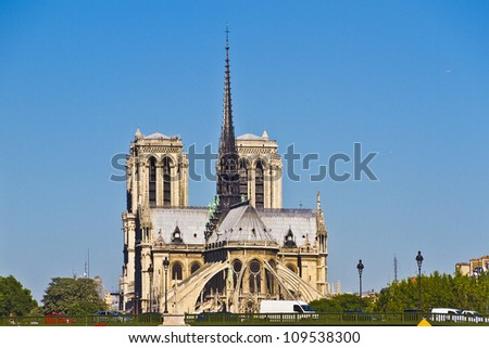 View of Cathedral Notre Dame de Paris from river Seine. Cathedral Notre Dame de Paris � most famous Gothic, Roman Catholic cathedral (1163-1345) on the eastern half of the Cite Island. France, Europe. - stock photo