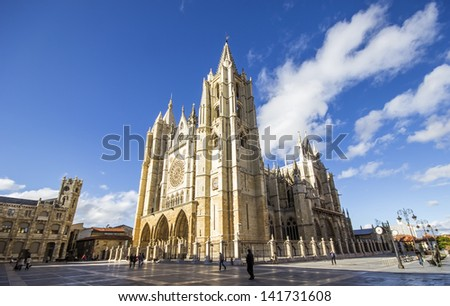 View of Cathedral of Leon at sunset, Leon, Spain
