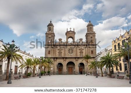 View of Cathedral Santa Ana Vegueta in Las Palmas. Gran Canaria, Canary Islands, Spain - stock photo