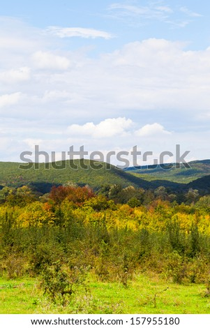 view of caucasian mountains in Shapsugskaya anomalous area in early autumn day