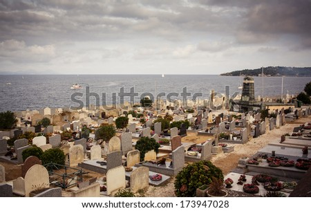 View of cemetery in Saint Tropez, France