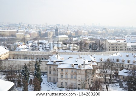 View of center of Prague from the grounds of Prague Castle (Pra���¾sk���½ hrad) Czech Republic