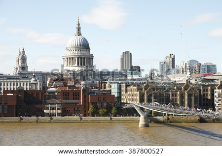 View of central London in summer