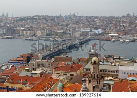 View of central part of Istanbul from Galata Tower. - stock photo