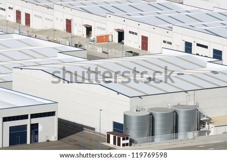View  of Centrovia industrial zone, La Muela, Saragossa province, Aragon, Spain - stock photo