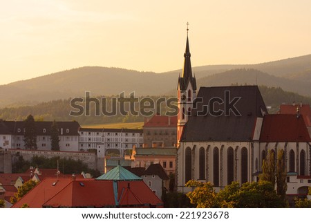 View of Cesky Krumlov at the sunset time  - stock photo