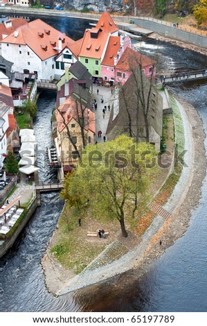 View of Cesky Krumlov, city protected by UNESCO. - stock photo