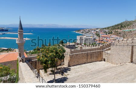 View of Cesme from the castle, Turkey - stock photo