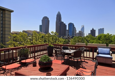 View of Charlotte Skyline from Rooftop - stock photo