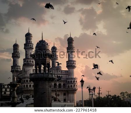 View of Charminar during sunrilse, Hyderabad, near Mecca masjid. - stock photo