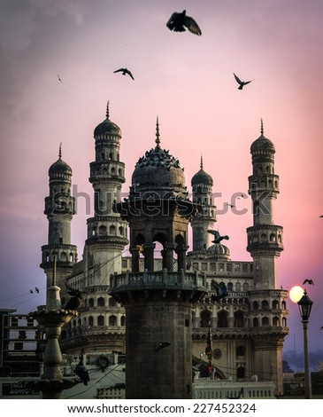 View of charminar, Hyderabad. near mecca Masjid. - stock photo
