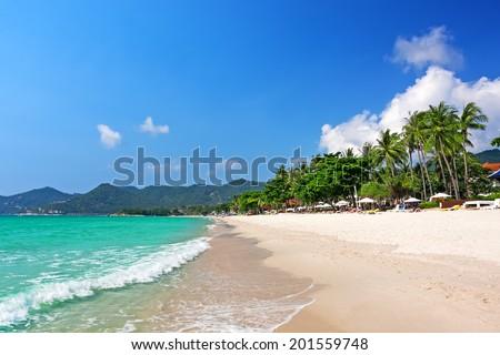 View of Chaweng beach, Koh Samui (Samui Island), Thailand - stock photo