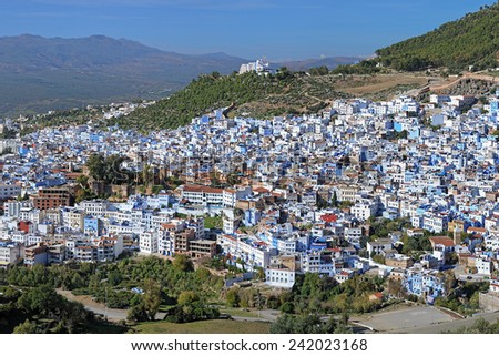 View of Chefchaouen from the hill of Jemaa Bouzafar Mosque, Morocco - stock photo
