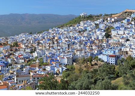 View of Chefchaouen with buildings painted in blue color, Morocco - stock photo