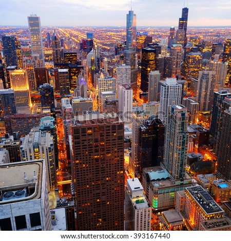 View of Chicago downtown at twilight from high above - stock photo