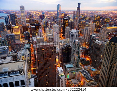 View of Chicago downtown at twilight from high above