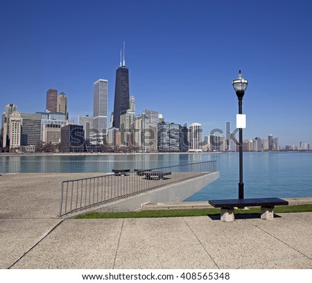 View of Chicago from the pier - stock photo