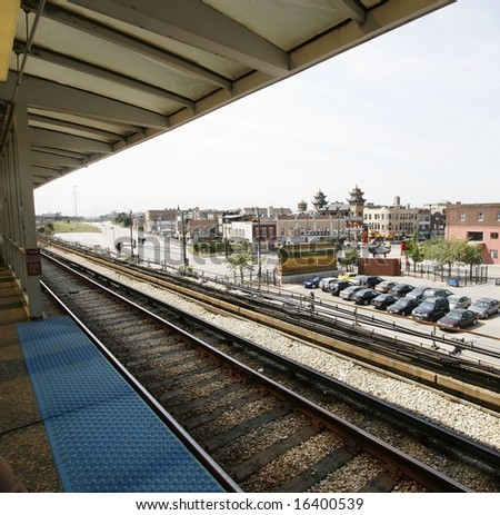 View of China town and parking lot from train tracks in Chicago. - stock photo