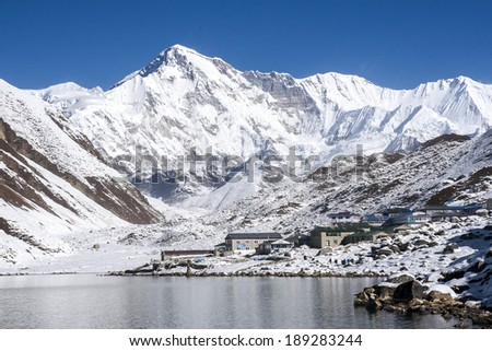 view of Cho Oyu and the village of Gokyo