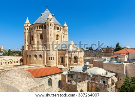 View of Church of Dormition under blue sky in Jerusalem, Israel.