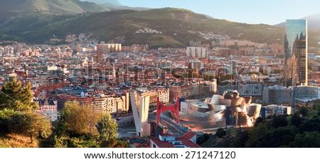 View of city Bilbao, Spain - stock photo