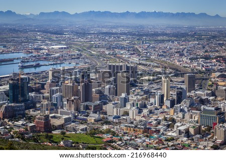 View of City Bowl and Business District of Cape Town, South Africa - stock photo