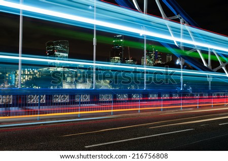 View of City of London cityscape from Tower Bridge - stock photo