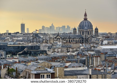View of city of Paris during sunset  - stock photo