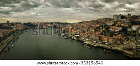 View of city of Porto and Douro river in Portugal  - stock photo