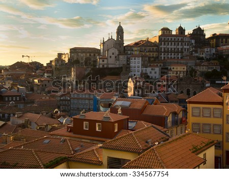 View of city of Porto, Portugal during sunset - stock photo