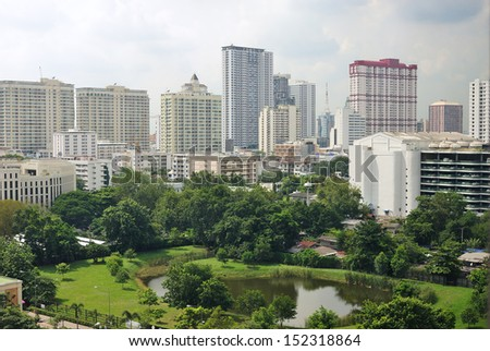 View of cityscape and city gardens