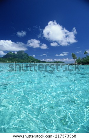 View of clear water in Bora Bora, French Polynesia - stock photo