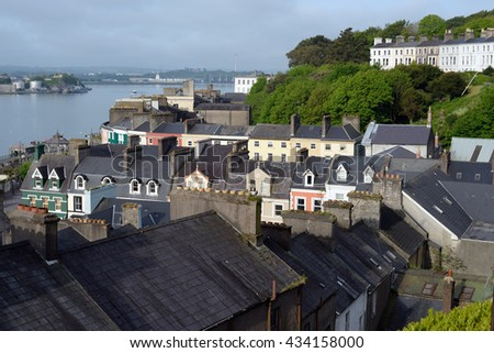 view of cobh town county cork ireland from the catherdral - stock photo