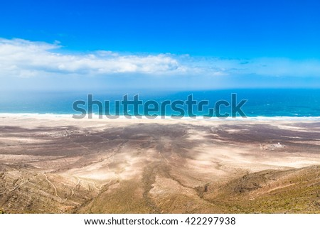 View Of Cofete Beach From Mountain - Jandia, Fuerteventura, Canary Islands, Spain