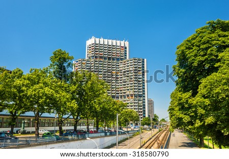 View of Collini Center and tram line on the embankment of Mannheim - Germany
