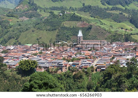 View of colonial city Jardin, Antoquia, Colombia