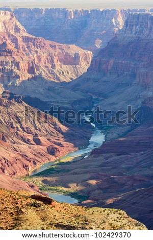 View of Colorado-River from Lipan Point in Grand Canyon National park - stock photo